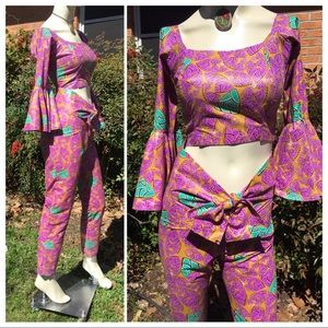 African Wax Fabric Printed 3 Pc Pants Set Outfit